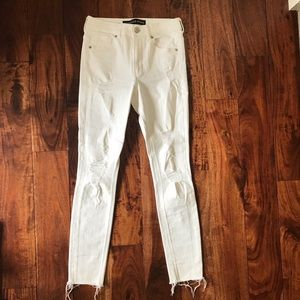 EXPRESS distressed skinny white denim